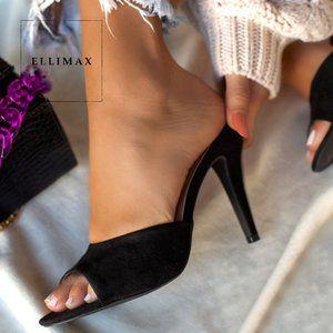NEW🔥 Peep Toe Stiletto Heel Mules Sandals Slip On